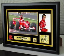 "Michael Schumacher F1 Tribute Ferrari Framed Canvas Signed Print ""Great Gift"""