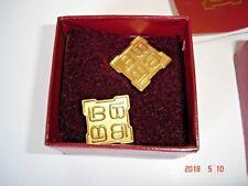 Vintage Designer Laura Biagiotti Logo Earrings 1990's Gold plated