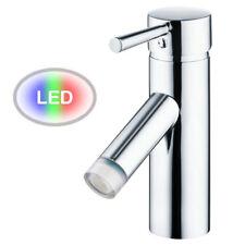 Bad Waschbecken Waschtisch LED Armatur Einhebel Wasserhahn Chrom Sanlingo