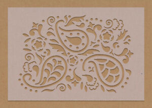 Paisley Large Floral Swirl Stencil Tiles Crafting Wall Reusable