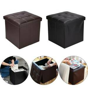 Folding Storage Ottoman Seat Stool Footstool Toy Storage Box Bedroom Living Room