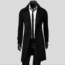 Winter Men Slim Stylish Trench Coat Double Breasted Long Jacket Parka BK/XL D