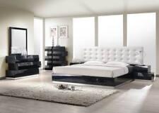 Milan Bedroom Set in Black Finish Zig Zag Design - Queen Size - 5 Piece