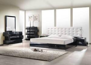 Milan Bedroom Set in Black Finish Zig Zag Design - King Size - 5 Piece
