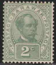 SARAWAK 1902 2c GREEN WITH WATERMARK MH WITH ORIG GUM. CAT RM 250