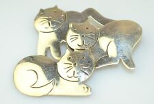Vintage Mexican Sterling Silver Pin With 3 Three Cats