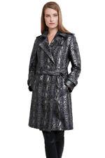 $748 Elie Tahari Natania Women's Coat XS Metallic Snake Print Trench Jacket