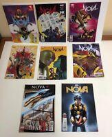 Lot x 8 comics Nova 1-5 MARVEL ('17) 4 x Variants + 9-10 ('16) Ramos HIGH GRADE
