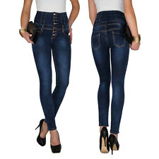 Damen High Waist Stretch Corsagen Hochschnitt Skinny Slim Röhren Jeans Hose E52