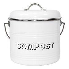Metal Enamel Kitchen Worktop Compost Collection Caddy Bin Recycling Bucket