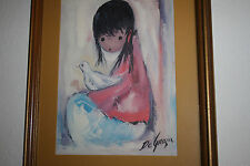 "Vintage Ted DeGrazia Print ""The Dove""  Matted, Framed w/ Non-Glare Glass"