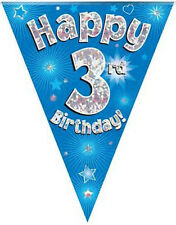 3rd BIRTHDAY FLAG BANNER BLUE HOLOGRAPHIC PARTY BUNTING 11 FLAGS 3.9MTRS/12.8ft