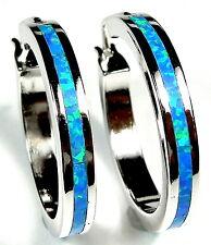 Blue Fire Opal Inlay 925 Sterling Silver Endless Hoop Earrings 1'' Wide ( 25mm )