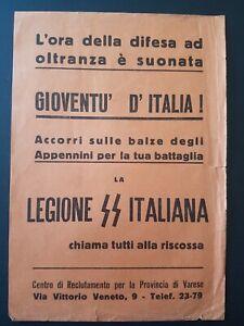 Waffen SS Italiana Schutzstaffel Flyer Volantino Reclute Varese War World