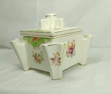 Vintage Ceramic Square Small CIGARETTE HOLDER Case /Trinket Box Japan w/ Flowers