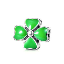 Exquiste Sterling Silver SS 925 Irish 4 Leaf Clover Green Enamel Charm