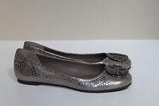 New sz 7 Tory Burch Reva Snake Embossed Logo Ballet Flat Pewter Slip on Shoes