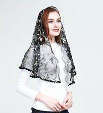 Church Head Veil Elegant Catholic Funeral Mantilla Head Cover Lace Dark Tulle