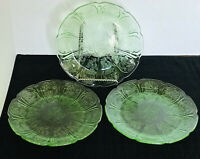 Jeannette Depression Glass Salad Plates 3 Green Cherry Blossom Vintage Excellent