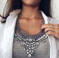 Stunning Crystal Clear Tribal Bohemian Zara Silver Statement Necklace