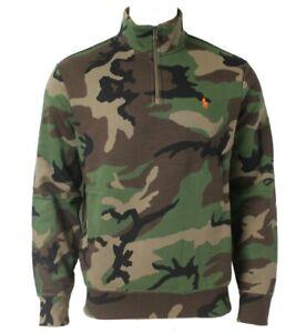 Polo Ralph Lauren Camo Mens Jumper Zip Sweater KW53 Funnel Neck Large L