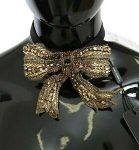 Dolce & Gabbana Nœud Papillon Cristal Or Perlé Pailleté 100% Soie Catwalk