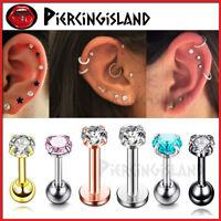 Gem Crystal Titanium Steel Ball Tragus Ear Lip Bar Round Stud Piercing Earring