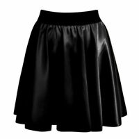 Womens Ladies Sexy High Waist Faux Leather Wet Look Skater Mini Flare Skirt 8-14