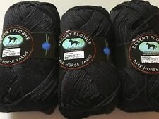 LOT of 3 Dark Horse Yarns Desert Flower #800 Black Mercerized Cotton