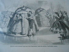 Gravure 1863 - Bal Costumé ballet des Abailles l'arrivée des ruches