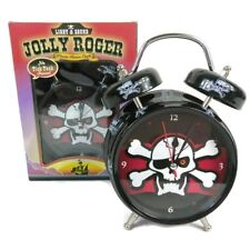 Jolly Roger Pirate Skull & Bone Alarm Clock Silent Sweep Light & Sound Classic