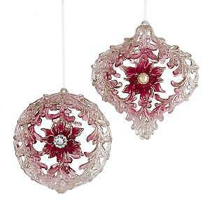 Set of 2 Burgundy and Pink Hollow Ball and Onion With Glitter Ornaments w