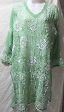 Elegance chikan full hand embroidery long   chiffon  kurta/top size L42
