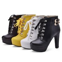 WOmen's High Slim Heels Platform ROund toe Leather lace up Martin Ankle Boots
