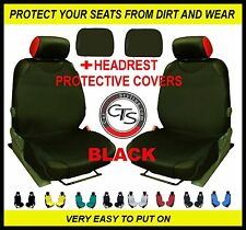 2x CAR SEAT COVER T-SHIRT VEST FRONT + HEADREST BLACK VW Passat CC