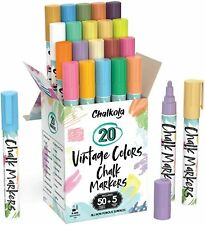 CHALKOLA Liquid Chalk Markers - 20 Vintage Colors - Bold Dry Erase Markers - NEW
