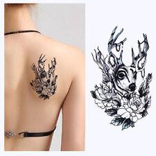 Waterproof Tattoo Sticker Deer Flower Black Temporary Removable Arm Body Art DIY