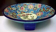 Art Deco French Faience EMAUX de LONGWY Enameled Majolica Turquoise Fruit Bowl