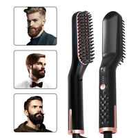 Electric Men's Beard Straightening Hair Comb Heated Hair Styling Curling Brush
