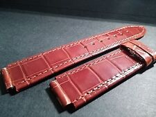 Milus alligator band- Shiny Brown-Short-scuff- 15mm (at watch) x 18mm at buckle