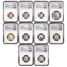 2017-S 225th Anniversary Enhanced Uncirculated Coin Set NGC SP70 225th FR Label