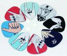 "10x ""Rockin' Finger Signs'n'Symbols"" Guitar Picks/Plectrums. Stocking filler"