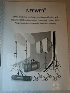 NEW Neewer Background Support System And 800W 5500K Umbrellas Softbox LIGHT KIT