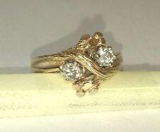 Vintage Bark Design Bypass Diamond Ring, 14Kt Gold and Diamonds