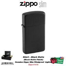 Zippo Slim Black Matte Lighter, USA Genuine Windproof #1618