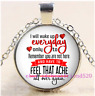 "Feel That Ache Everyday"" Tibet Silver Cabochon Glass Pendant Chain Necklace"