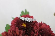 Solid 14K White Gold Princess Cut 3 Stone Diamond Engagement Ring sz 8.75