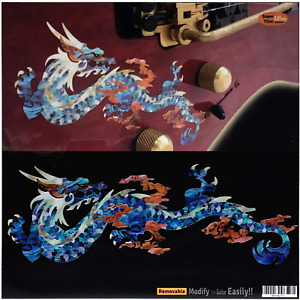 Abalone Blue Fire Dragon Inlay Sticker Decals For Guitar and Bass