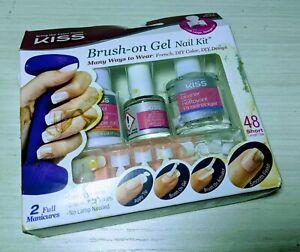 NEW Kiss Brush On Gel DIY Nail Kit New 48 Short Tips DIY Manicure DAMAGED BOX