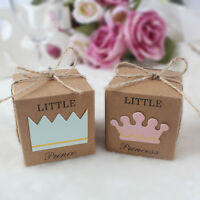 50x Baby Shower Sweet Candy Box Gift Bags Birthday Party Baptism Favor for Guest
